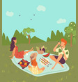 happy family on picnic outdoor in nature or park vector image vector image