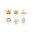 india yoga studio logo set health studio labels vector image vector image