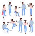 isometric flat design black man and woman vector image