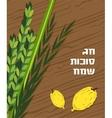 Jewish holiday Sukkot Lulav Etrog Arava and vector image vector image