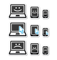 Laptop tablet and phone with cursor arrow happy vector image vector image