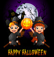 little girl witch and little boy costume flying wh vector image vector image