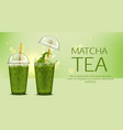 matcha green tea with ice cubes in takeaway cup vector image vector image