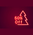 merry christmas sale 50 off neon number on the vector image