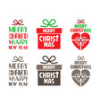 merry christmas text designed with gift box vector image