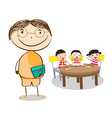 Mid age teacher man in a class of kids sitting at vector image vector image