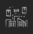 mobile network chalk white icon on black vector image