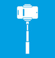 mobile phone on a selfie stick icon white vector image vector image