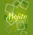 mojito drink with ice green background vector image