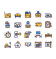 moving items color linear icons set vector image vector image
