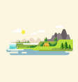 nature landscape with mountains hills river and vector image vector image