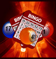 new 3d bingo balls and cards on glowing background vector image vector image