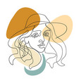 outline woman in hat vector image