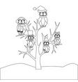 owls family on the tree coloring page vector image