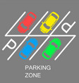 parked cars in a parking zone over dark asphalt vector image vector image