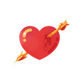 red heart icon with arrow vector image vector image