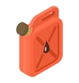 Red jerrycan with oil drop icon isometric 3d style vector image vector image
