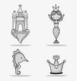 sea animals hand drawing cartoons vector image