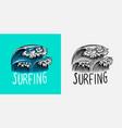 sea wave emblem surfing sign summer surf blue vector image vector image