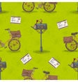 Seamless Pattern with Bicycles Envelopes vector image vector image