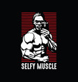 self picture take picture gym man vector image vector image