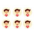 set emotion cute boy facial expression vector image