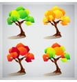 set four colorful geometric trees icons vector image