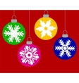 Set of Christmas balls decorated with snowflakes vector image