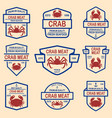 set of crab meat emblems design element for logo vector image vector image
