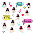 set of cute patch badges kawaii anime styl vector image vector image