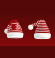 set two knitted santa hats with pattern vector image