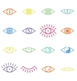 set various color eye icons on white background vector image vector image