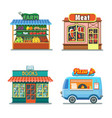 shops set meat shop farm products pizza books vector image