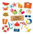 summer sticker icon set flat design can be used vector image vector image