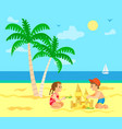 summer vacation kids children with sand castle vector image vector image