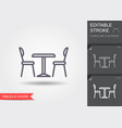 table and chairs line icon with editable stroke vector image