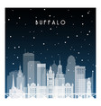 winter night in buffalo night city in flat style vector image vector image
