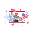 woman holding usa flags celebrating 4th july vector image vector image