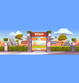 zoo gates with pointers to wild animals cages vector image vector image
