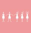 cartoon five basic ballet positions set vector image