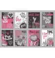 Collection of romantic and love cards with hand vector image