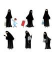 arab women in black hijab vector image