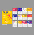 calendar template for 2018 year design layout vector image