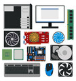 cartoon pc components for computer store set vector image vector image