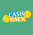 cash back icon vector image vector image