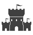 castle black icon tower with waving flags vector image vector image