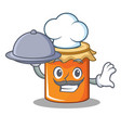 chef with food jam mascot cartoon style vector image