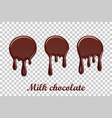 chocolate drip splash set liquid blot isolated vector image