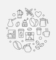 coffee house round symbol in linear style vector image vector image