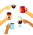 coffee mugs in hands collection in cartoon vector image